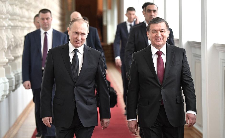 Usbekistan Russland Mirsijojew und Putin
