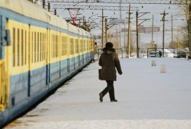 Stepnogor Kasachstan Bahnsteg