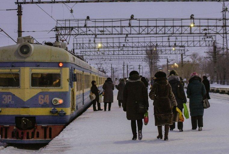 Stepnogor Kasachstan Bahnsteig