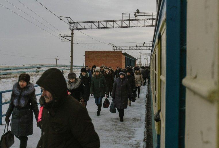 Stepnogor Kasachstan Bansteig Passagiere