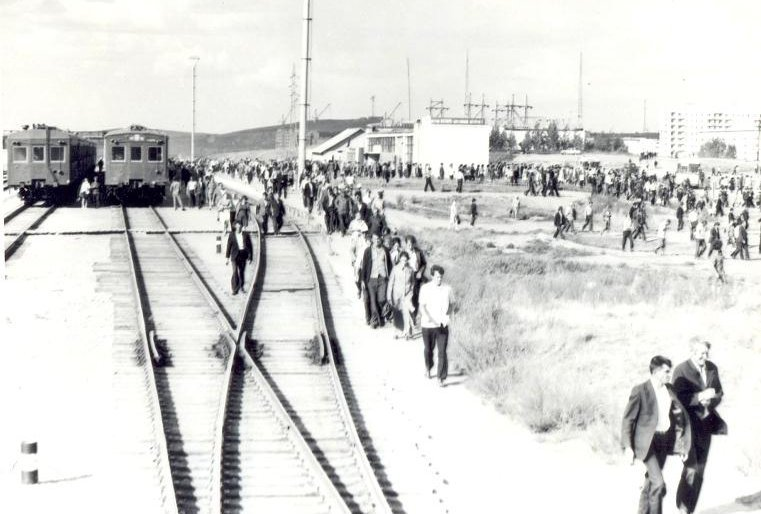 Stepnogor Kasachstan Sowjetunion Geschichte Bahnsteig