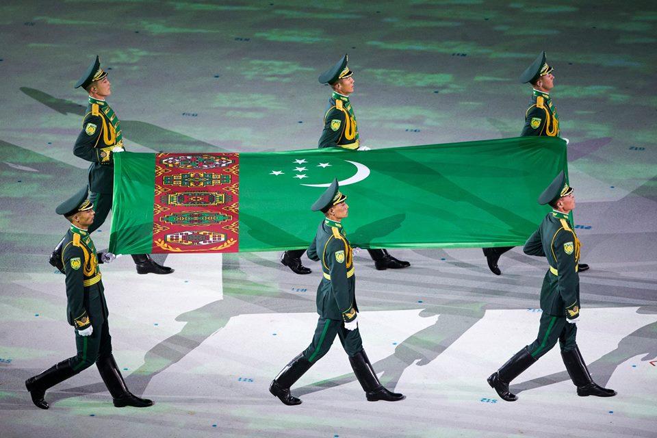 Turkmenistan Flagge Asiaden 2017 Eröffnung