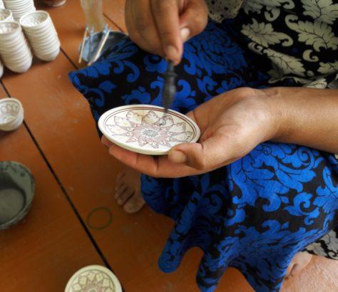 handbemalte Keramik in Rishton Usbekistan Handwerk