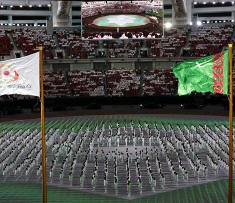 Flaggen Turkmenistan Eröffnung Asiade Aschgabat