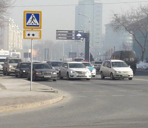 Almaty Kasachstan Kälte Winter Autobahn