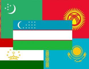 Zentralasien, Flaggen, Turkmenistan, Kasachstan, Kirgistan, Tadschikistan, Usbekistan