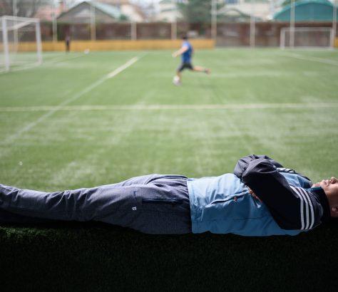 Pause nach dem Fußball in Kisgistan Bischkek