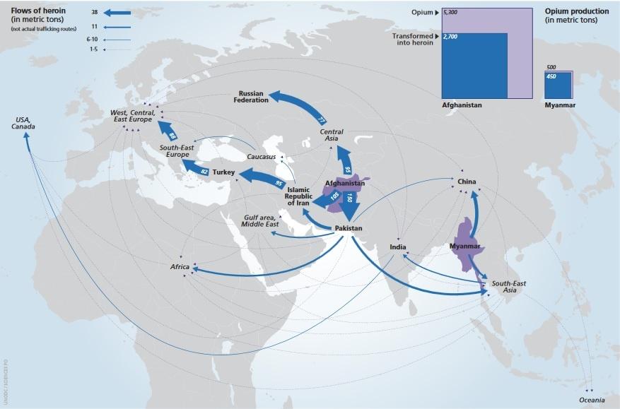 Drogenhandel aus Asien