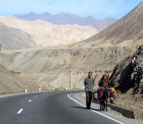 Chudschand Duschanbe Straße Tadschikistan Esel