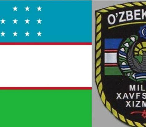 Usbekistan Flagge und Wappen SNB Geheimdienst