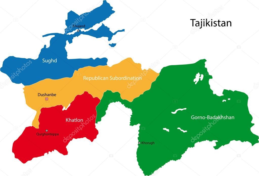Tadschikistan Karte Regionen