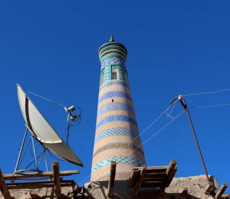 Minarett Chiwa Usbekistan Empfang