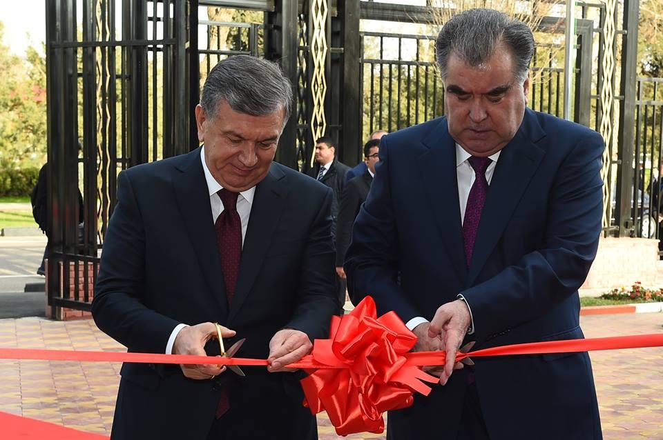 Mirsijojew und Rachmon in Duschanbe Eröffnung der Austellung