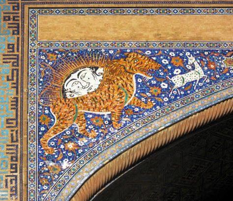 Samarkand Registan Sher-Dor-Medrese Sonnengott