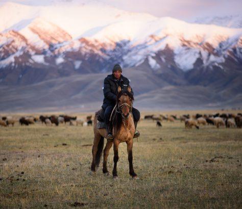 Hirte im Tien-Shan auf Pferd