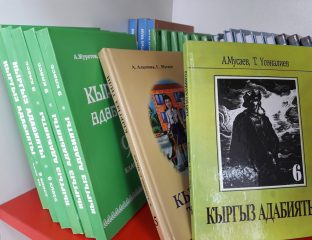 Kirgisischbücher in einer Schule in Bischkek