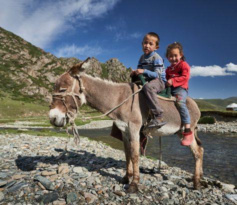 Esel Reiter Kirgistan Bild des Tages