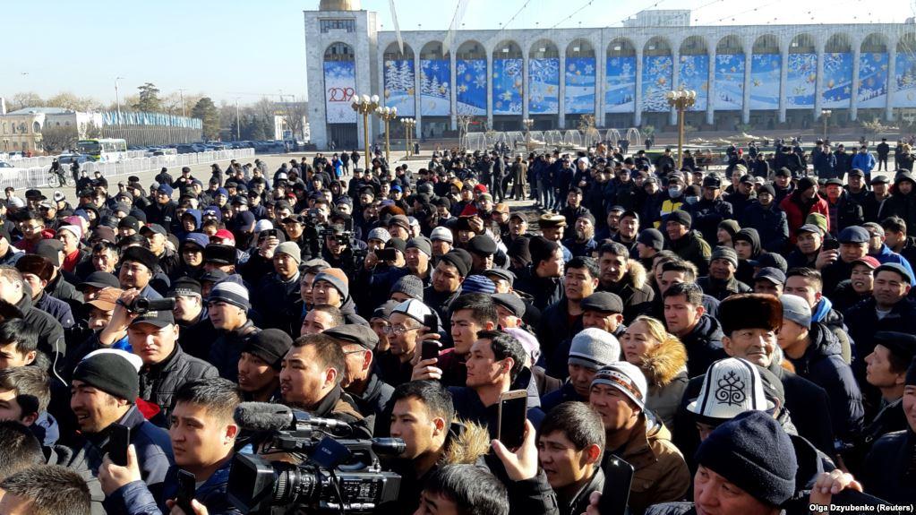 Demonstration gegen China Bischkek