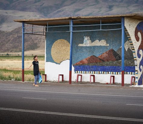 Bushaltestelle Kirgistan Architektur Sowjetunion