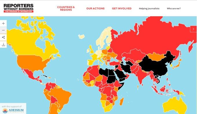 Die Weltkarte der Pressefreiheit