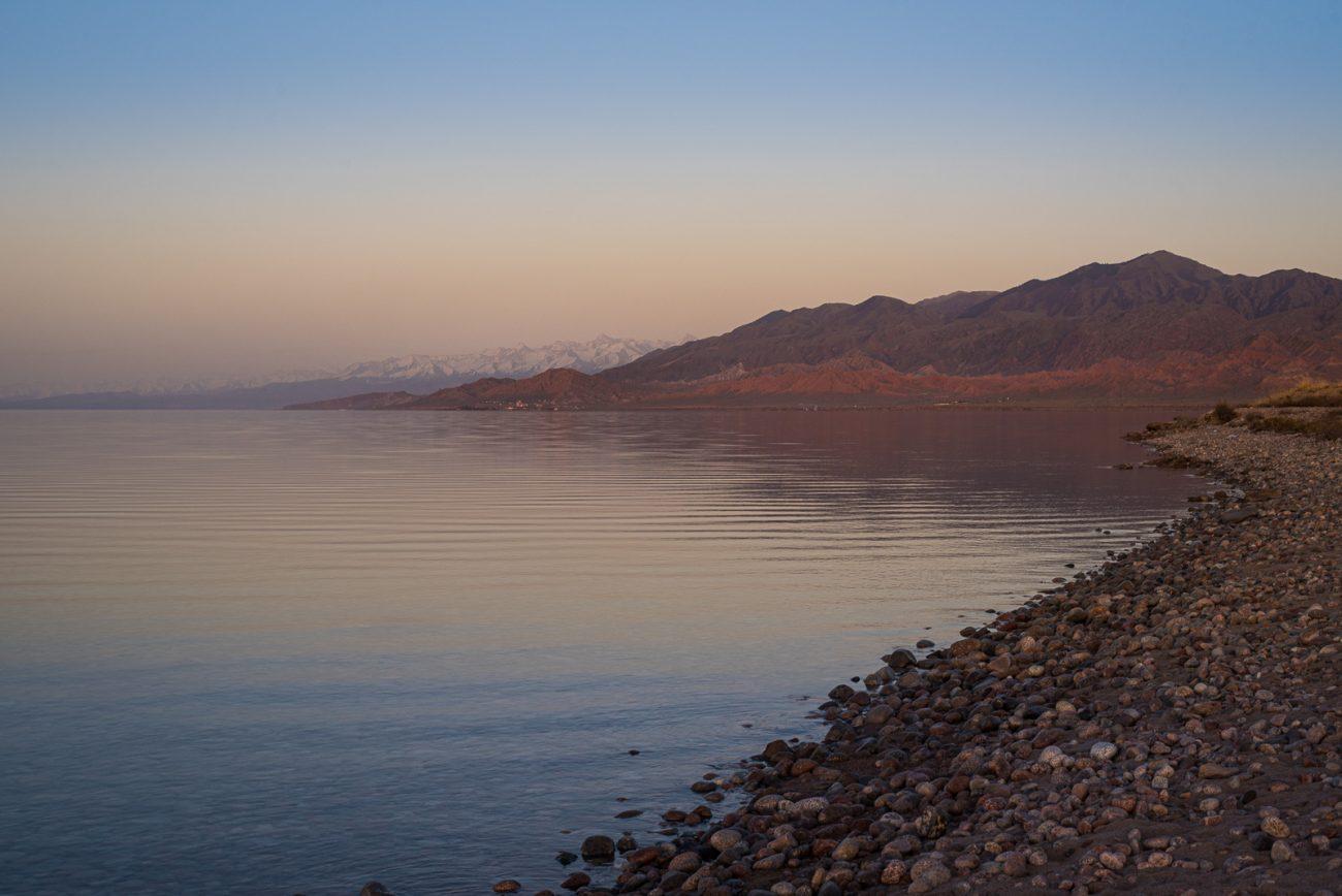 Issikköl Issikkölsee Kirgistan Issyk-Kul Sonnenuntergang