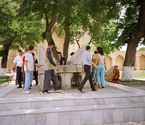 Ein steinernes Lesepult in Samarqand