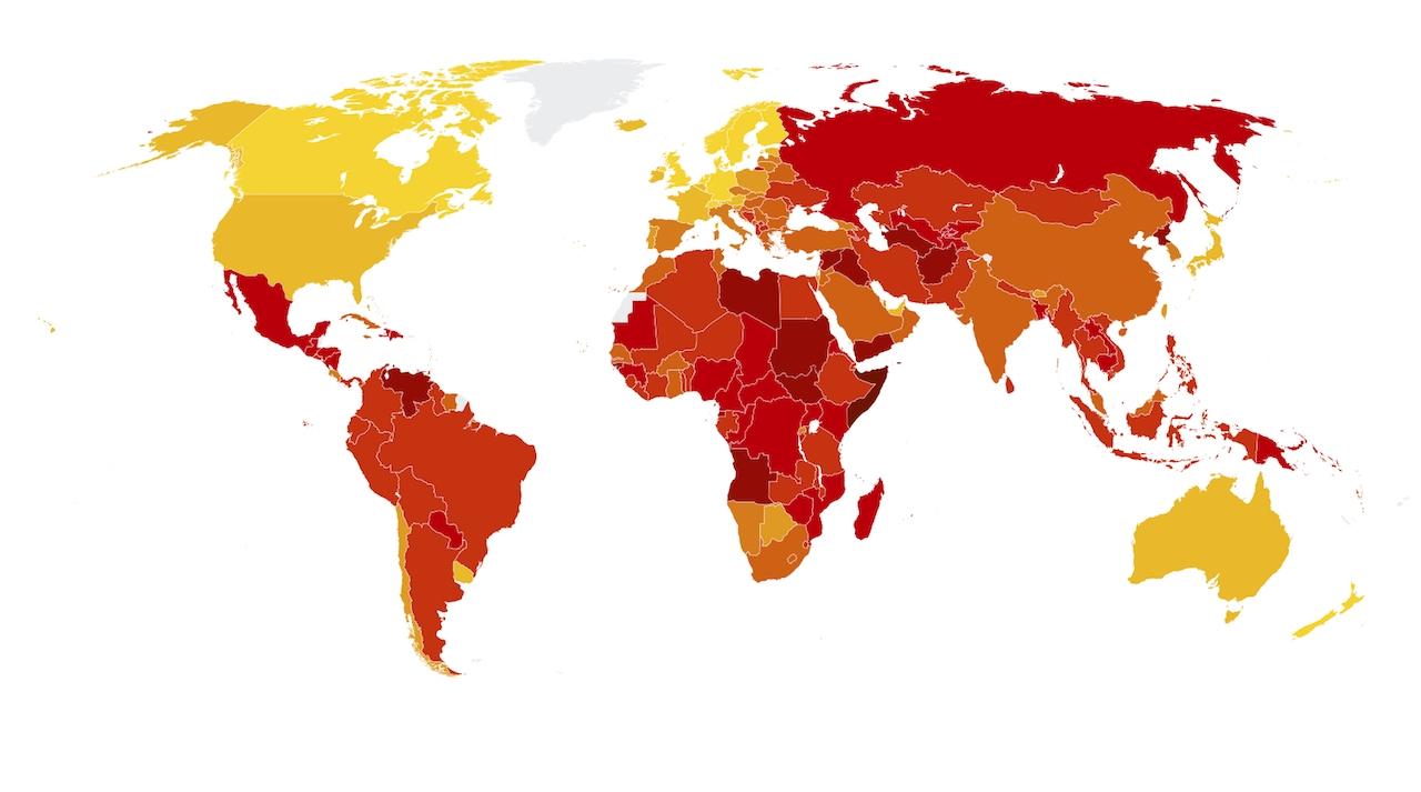 Weltkarte, auf der die korruptesten Länder rot eingefärbt sind