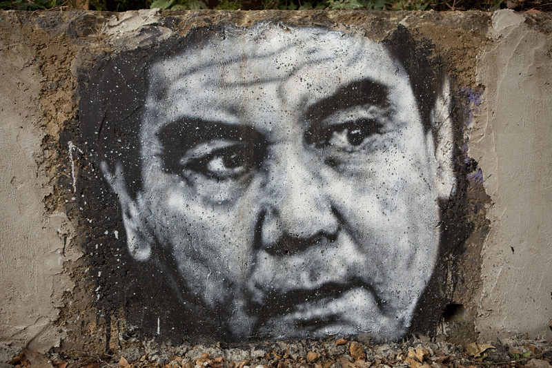 Ein Graffiti zeigt Gurbanguly Berdimuhamedow