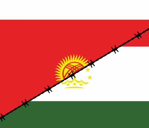 Die Flaggen Kirgistans und Tadschikistans, von Stacheldraht getrennt