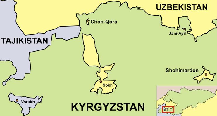 Enklaven im westlichen Kirgistan, Landkarte