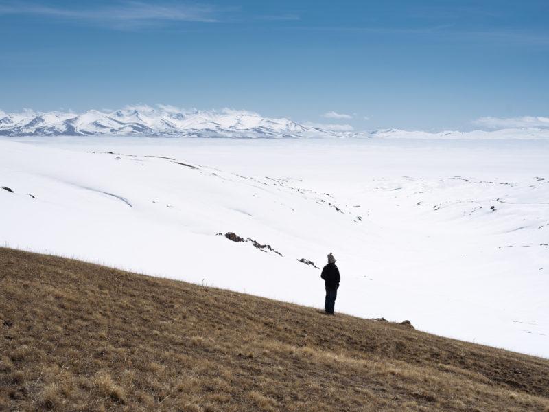 Schnee Songkölsee Kirgistan