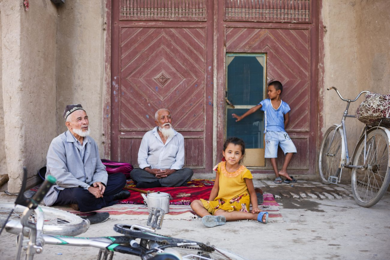 Usbekistan Xiva Nachmittag Großväter Enkelkindern