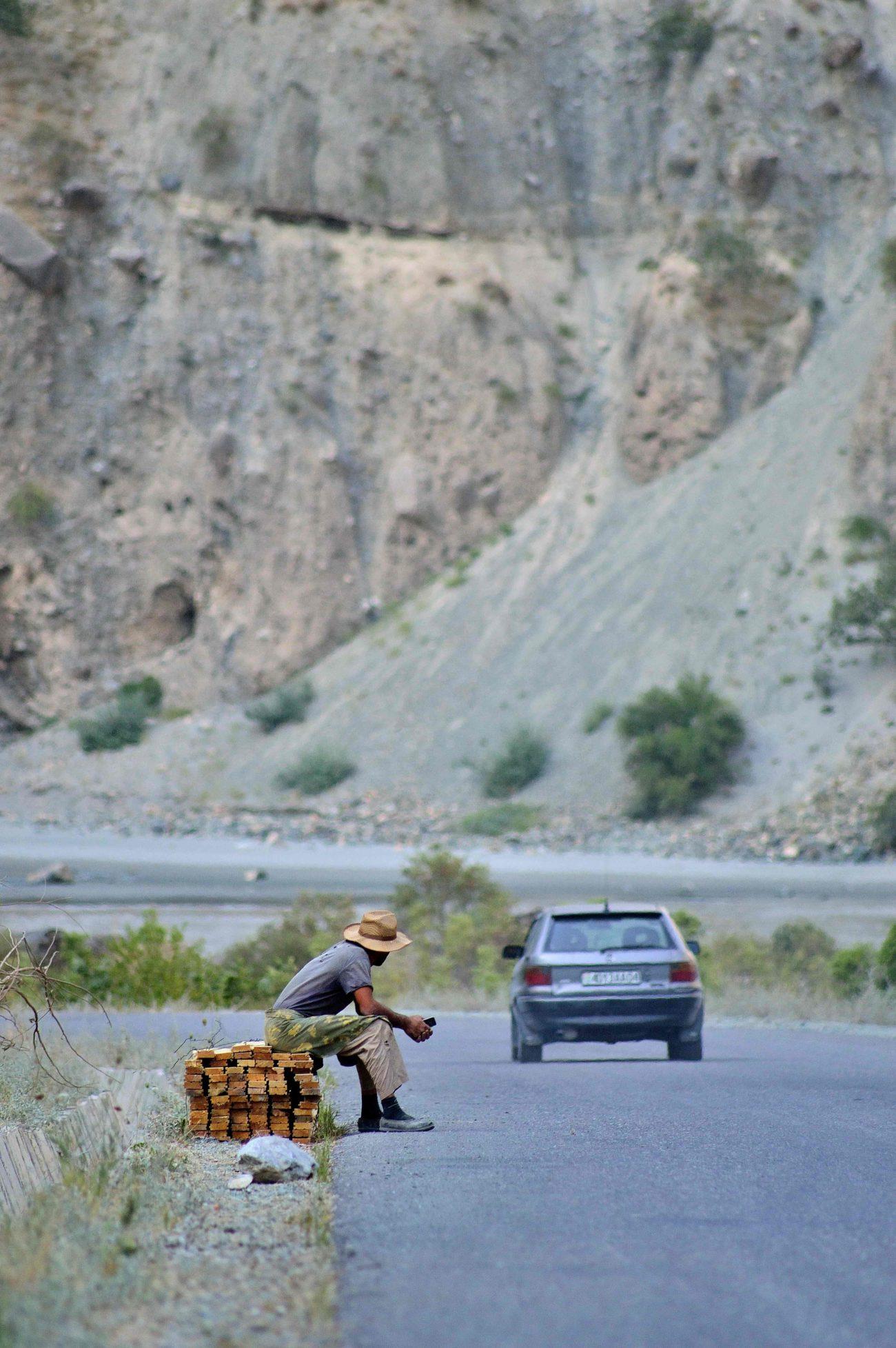 Auf dem Weg Pamirstraße Tadschikistan berg