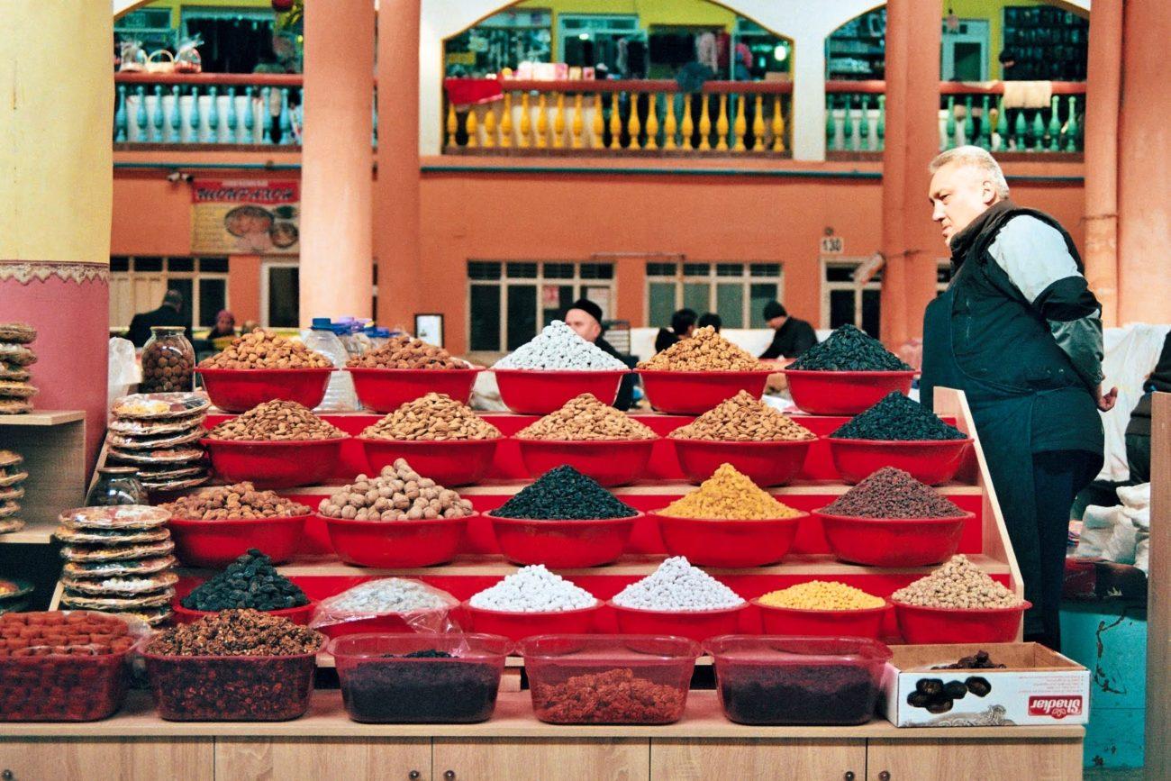 Trockenfrüchte auf dem Markt Chudschand Tadschikistan
