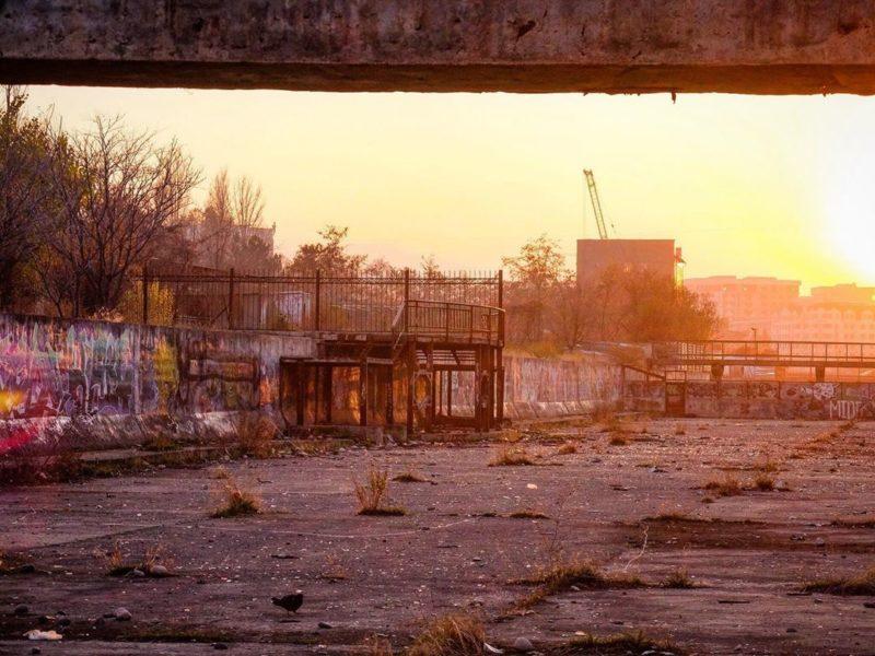 Graffiti Bischkek Kirgistan Sonnenuntergang