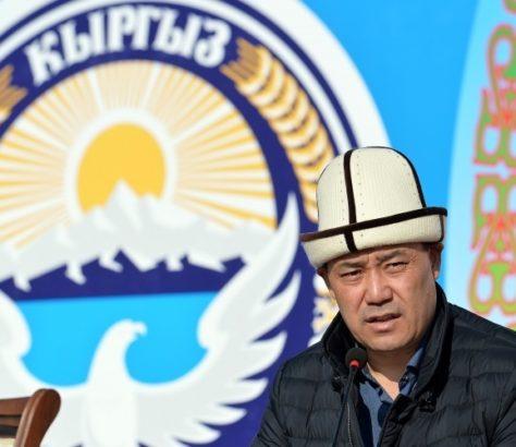 Sadyr Japarov giving a speech and wearing a kalpak