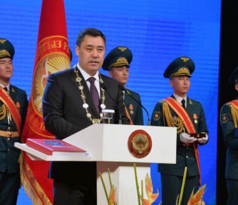 Kyrgyzstan's new president Sadyr Japarov at his inauguration in January 2021