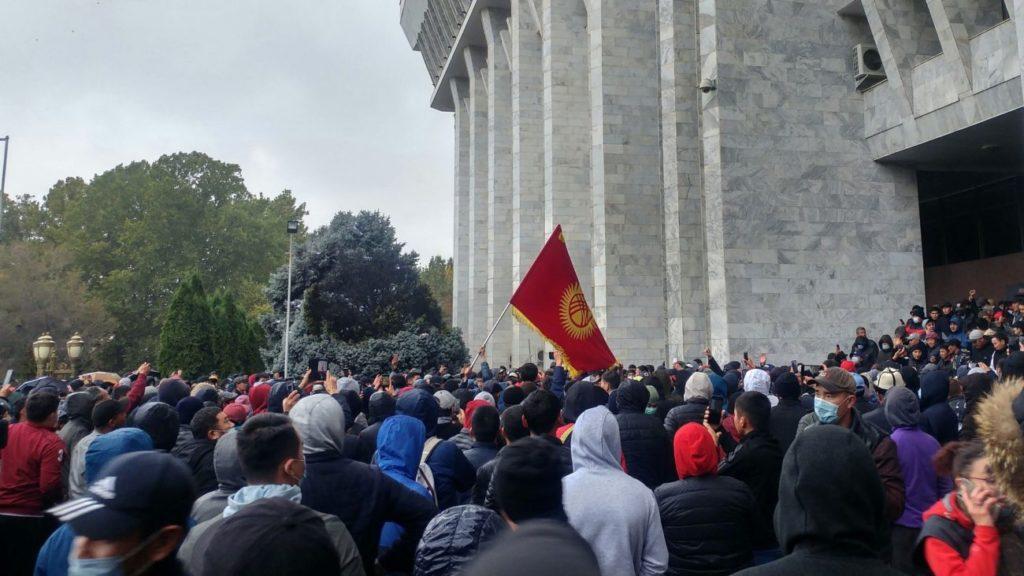 Protesters gather in Bishkek in October 2020