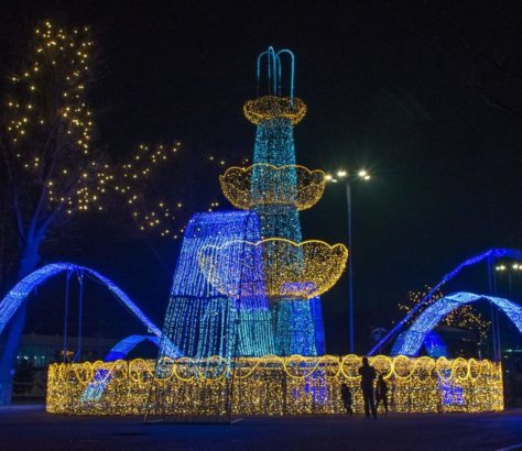 A fountain lit up for the New Year in Tashkent, Uzbekistan