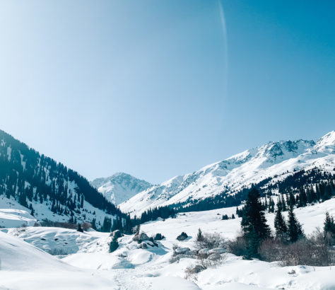 Kyrgyzstan Alakol Lake winter landscape