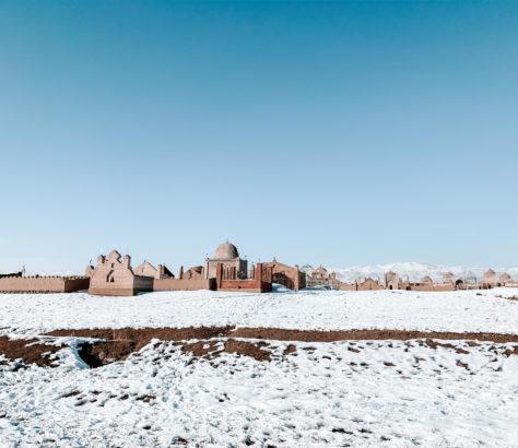 kyrgyzstan nary winter cemetery snow