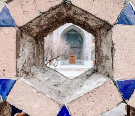 uzbekistan samarkand madrasa winter