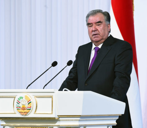 The president of Tajikistan, Emomali Rahmon, addressing parliament
