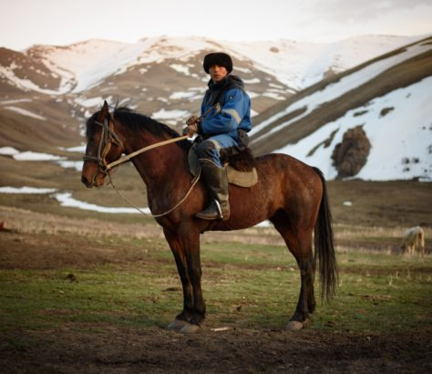 Bouzkachi Kyrgyzstan horse goatskin mountains