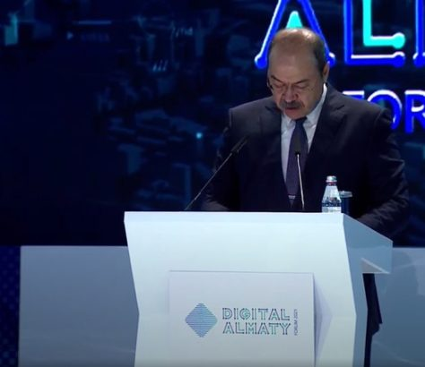 The prime minister of Uzbekistan speaking at the Forum