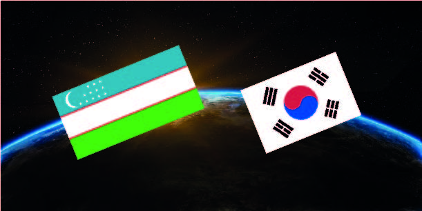 Flags of Uzbekistan and South Korea. In the background, the Earth is seen from space