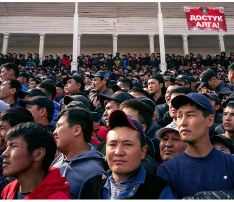 A crowd in Bishkek. They are gathering to watch Kyrgyz kokboru teams play for Nowruz
