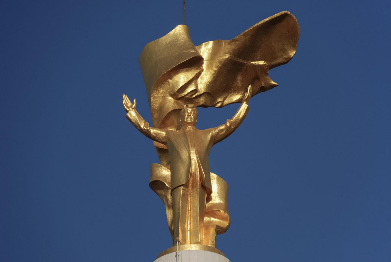 Gold-plated statue tukrmenistan ashgabat