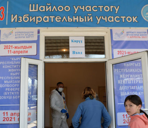 Voters at polling station 1053 in Kyrgyzstan on the day of the referendum on the constitution