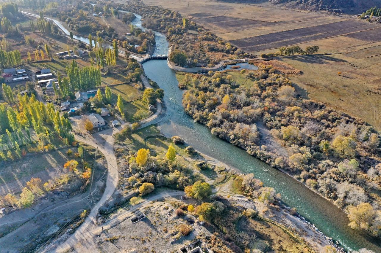 View of the river Talas in Kyrgyzstan